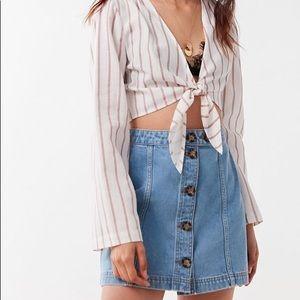 NWT BDG button front denim mini skirt